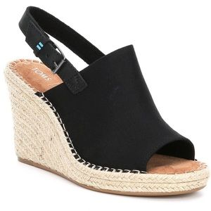 NWT TOMS Black Oxford Women's Monica wedges!
